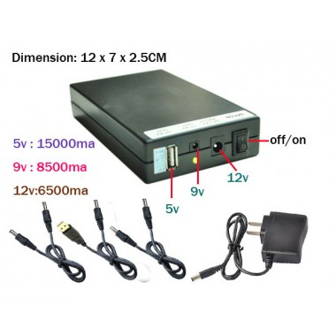 UPS 5V 9V 12V DC 15000mah Backup Battery